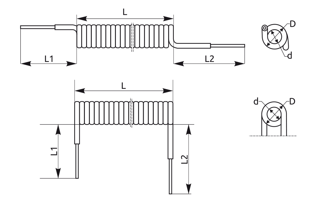 Wymiary spirali tj. średnica wewnętrzna (d) ,lub zewnętrzna (D), długość części spiralnej (L) oraz długość i położenie końców wolnych (L1),(L2) każdorazowo do uzgodnienia z klientem.