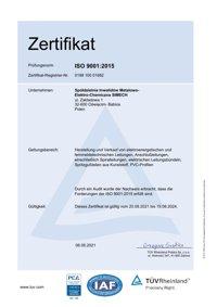 ZERTIFIKAT für das Managementsystem nach EN ISO 9001:2015 SIMECH
