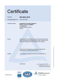 CERTIFICATE Management system as per EN ISO 9001:2015 SIMECH