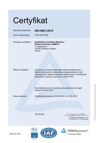 CERTYFIKAT dla Systemu Zarządzania wg. EN ISO 9001:2015 SIMECH